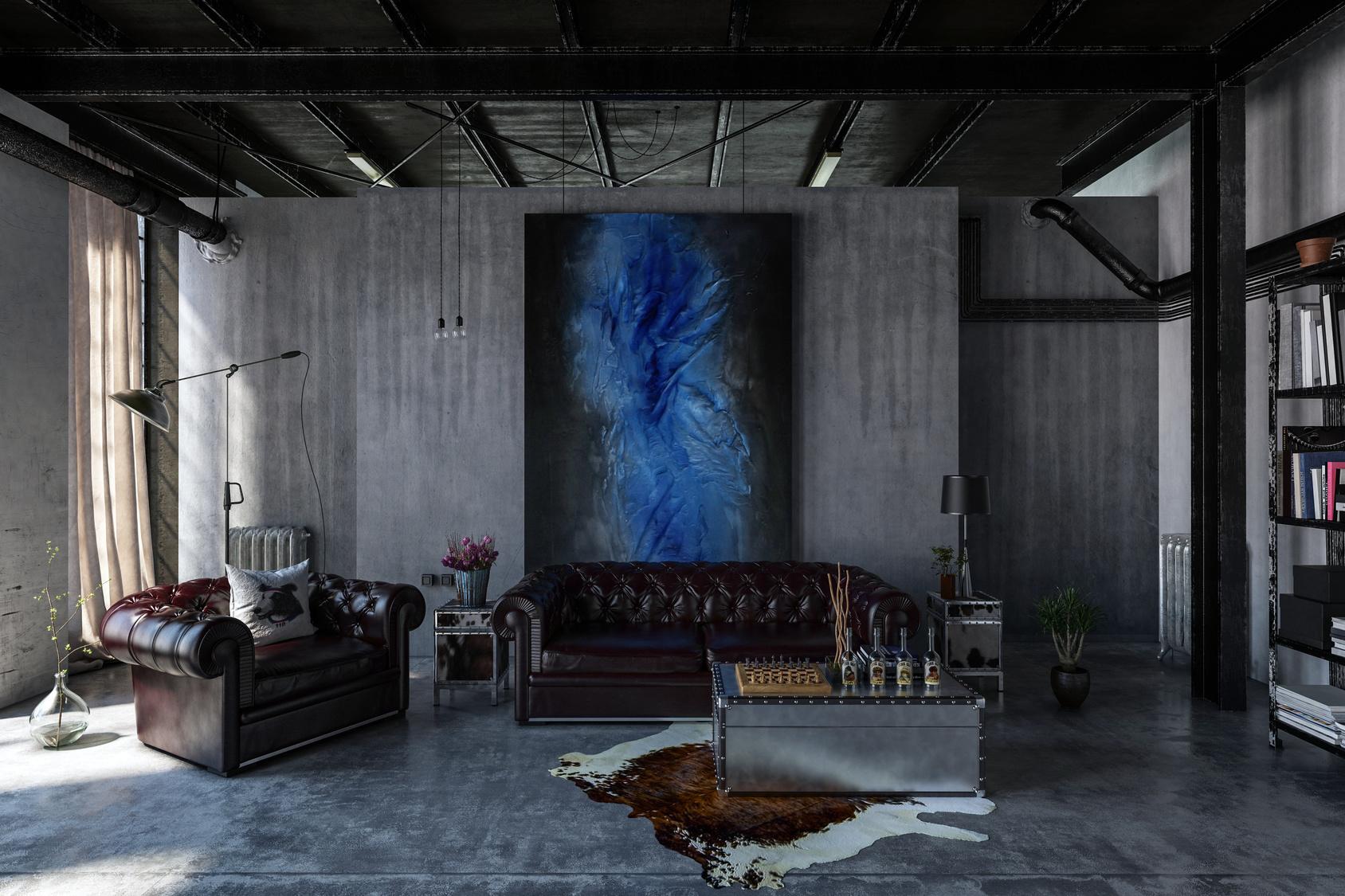 Polerowany beton i czarny metalowy sufit to tylko tło dla kontrastujących z nimi komfortowych mebli Chesterfield i wielkiego płótna na ścianie.