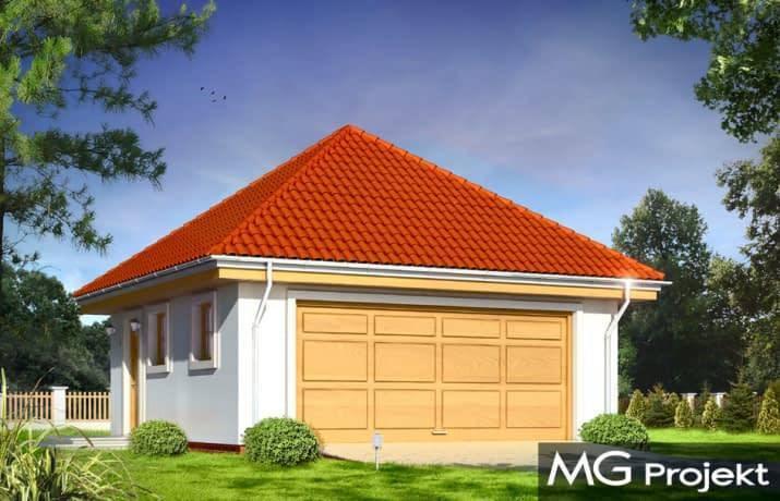 MG Projekt, garaż jednostanowiskowy, pow. 36m2. Wygodne wyjście z elewacji bocznej skierowane w stronę domu i ściana bez okien od strony ogrodzenia to praktyczne rozwiązania na garaż wolnostojący.