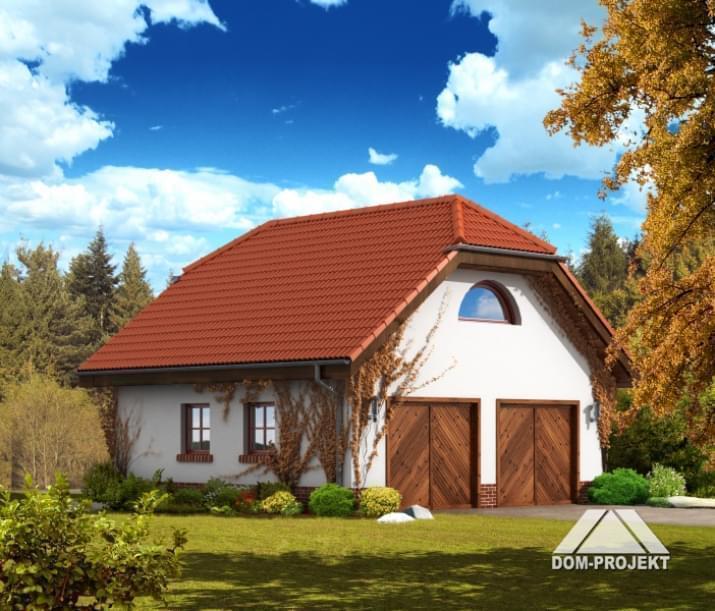 Garaż z dużym pomieszczeniem użytkowym na piętrze (19m2) idealny dla domowego majsterkowicza, G2 (04) Dom Projekt.